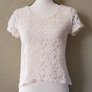 Delia's back zip ivory lace shirt NWT